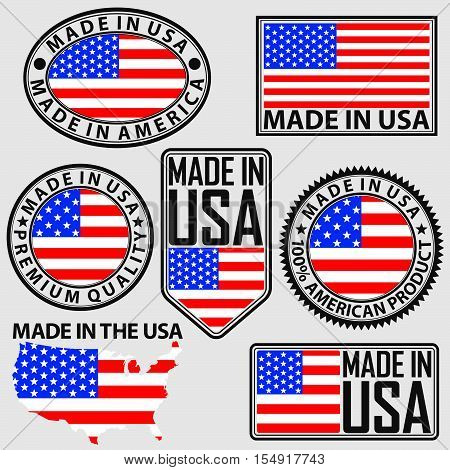 Made in USA label set with flag vector illustration