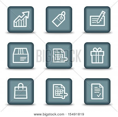 Shopping web icons set 1, grey square buttons