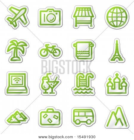 Travel web icons set 1, green contour sticker series