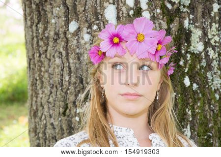 Happy Style Cheerful Girl With Floral Headband On Head