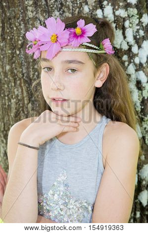 Cute Brunette With Floral Headband On Head