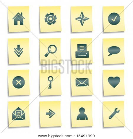 Basic web icons, yellow notes stickers