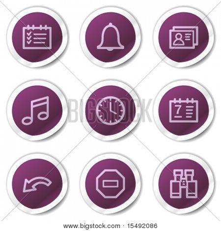 Organizer web icons, purple stickers series