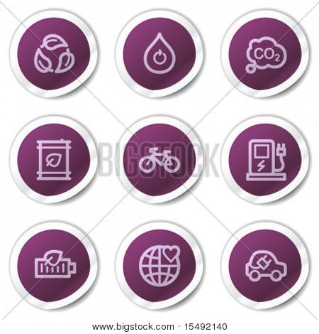 Ecology web icons set 4, purple stickers series