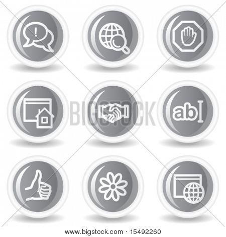 Internet web icons set 1, circle grey glossy buttons