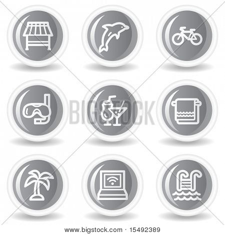 Vacation web icons, circle grey glossy buttons