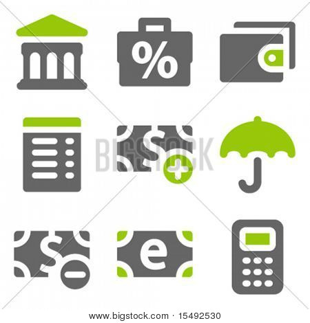 Finance web icons set 2, green grey solid icons