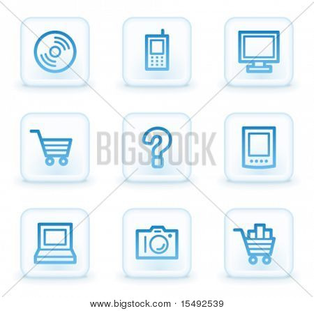 Electronics web icons set 1, white square buttons
