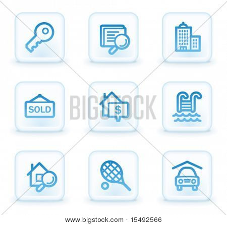 Real estate web icons, white square buttons