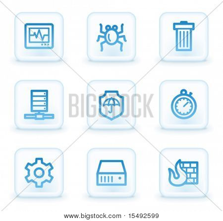 Botões quadrados da Internet segurança web ícones, branco