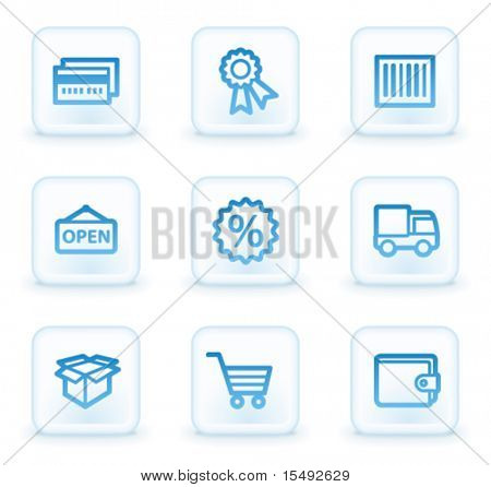 Shopping web icons set 2, white square buttons