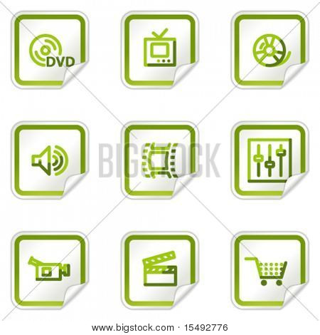 Video web icons, green stickers series