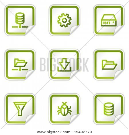Server web icons, green stickers series