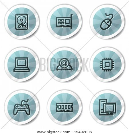 Computer web icons, blue shine stickers series