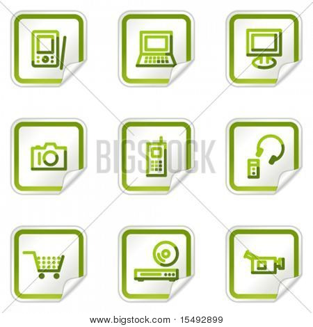 Electronics web icons, green stickers series