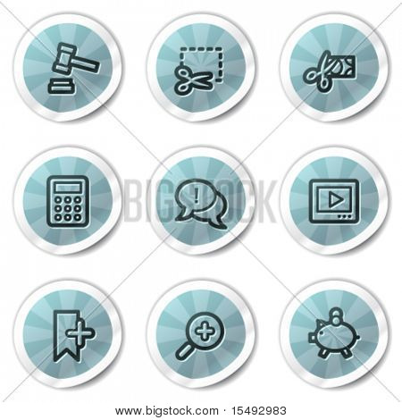 Shopping web icons set 3, blue shine stickers series