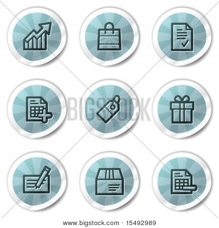 Shopping web icons set 1, blue shine stickers series