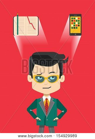 Thinking confused cartoon businessman in glasses - what to use paper notepad or digital gadget