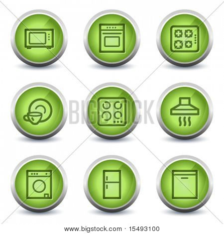 Home appliances web icons, green glossy set