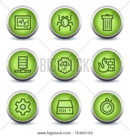 Internet segurança web ícones, verde brilhante conjunto