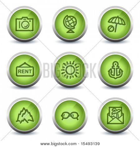 Travel web icons set 5, green glossy set