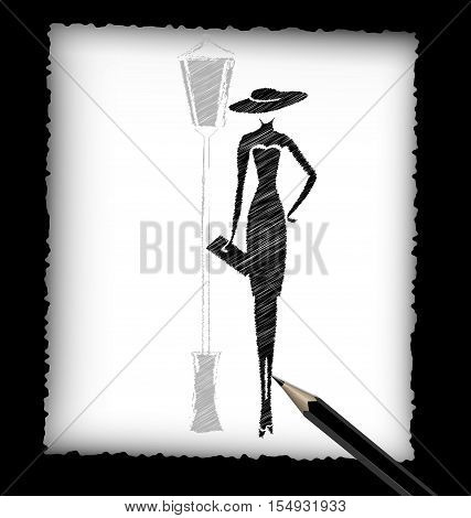 dark background, black pencil, sheet of white paper and the image of abstract lady