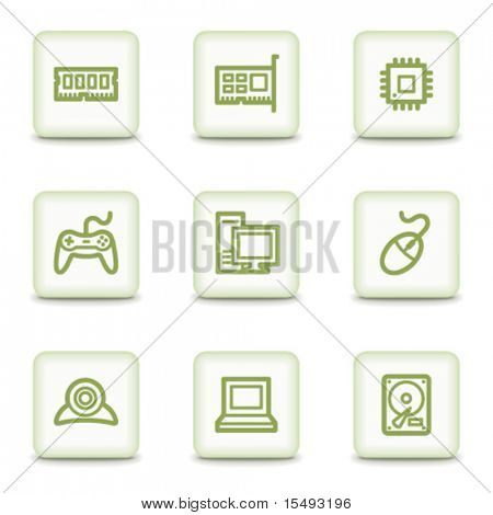 Computer web icons, white glossy buttons