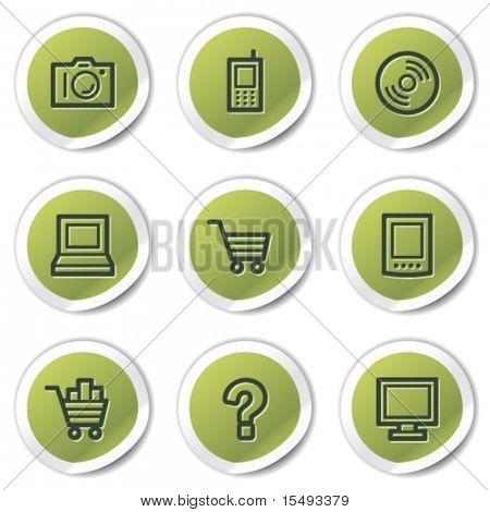 Electronics web icons set 1, green circle stickers