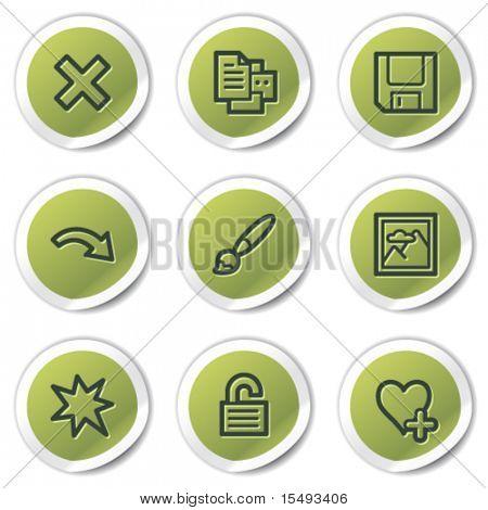 Image viewer web icons set 2, green circle stickers