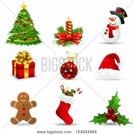 christmas icons. Vector Christmas icons set. Christmas holiday objects collection. Christmas illustration: santa, wreath, north pole, snowman, gift, christmas tree, santa hat, santa bag, reindeer, mistletoe, holly, toy, bell
