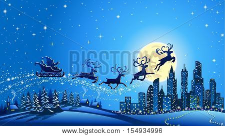Santa Claus on sleigh with reindeer crossing moon in the night sky. Suitable for Christmas background,