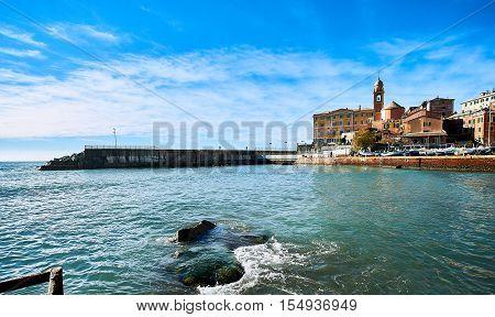 View of Nervi. Nervi is a small Italian fishing village and tourist resort. Italian Riviera
