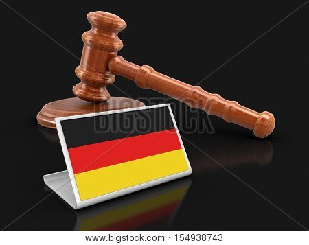 3D Illustration. 3d wooden mallet and German flag. Image with clipping path