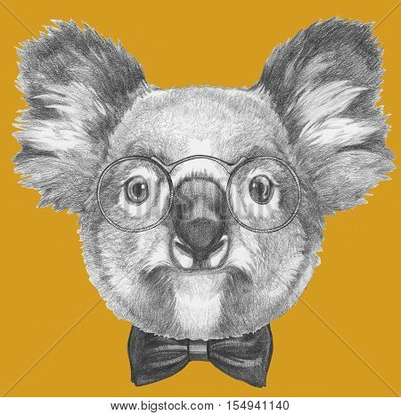 Hand drawn portrait of Koala with glasses and bow tie.