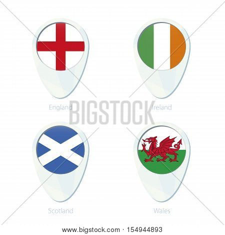 England, Ireland, Scotland, Wales flag location map pin icon. England Flag, Ireland Flag, Scotland Flag, Wales Flag. Vector Illustration.