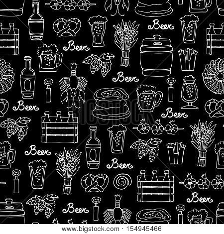 Vector seamless pattern with hand drawn bottle and glass of beer snacks in sketch style. Pattern on the theme of beer on black color. Background for use in design