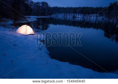 Accommodation At The Lake In Cold Winter