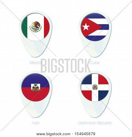 Mexico, Cuba, Haiti, Dominican Republic Flag Location Map Pin Icon.