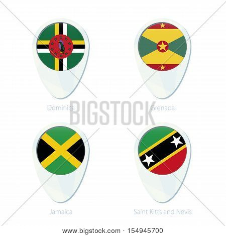 Dominica, Grenada, Jamaica, Saint Kitis And Nevis Flag Location Map Pin Icon.