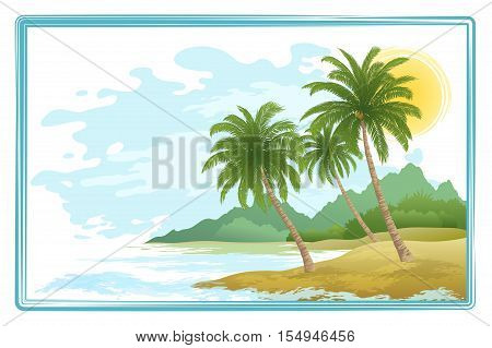 Tropical Sea Landscape, Beach, Green Exotic Palm Trees, Island with Mountains and Sky with Clouds. Eps10, Contains Transparencies. Vector
