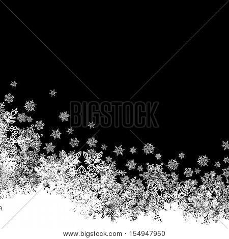 Snowflakes white border silhouette. Bottom line. Isolate on black