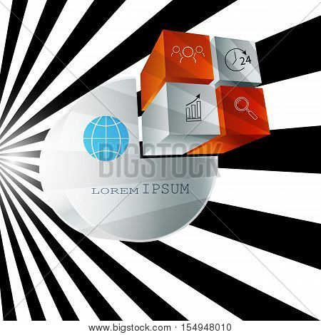 Infographics business background 3D cube black and white abstract background