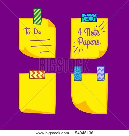 Four yellow note papers with washi tape in cartoon style, memo with curled corners, colorful decorative paper tape, isolated note paper on purple background, EPS 8