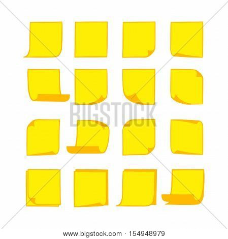 Vector yellow stick notes, collection of isolated hand-drawn sheets of note paper with place for your text and message, sticky note with curled corners, EPS 8