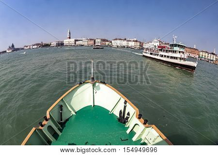 Ferry Boat At The Way To Venice