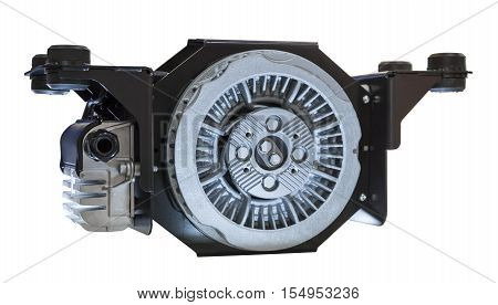 Heavy duty truck induction brakes system isolated over white background