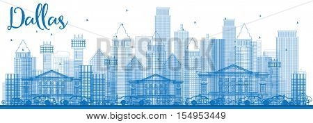 Outline Dallas Skyline with Blue Buildings. Vector Illustration. Business Travel and Tourism Concept with Modern Architecture. Image for Presentation Banner Placard and Web Site.