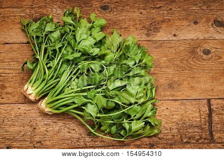 Bunch of celery on a wooden background.