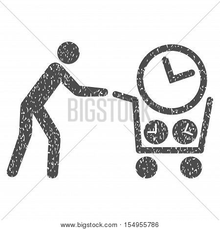 Clock Shopping grainy textured icon for overlay watermark stamps. Flat symbol with unclean texture. Dotted vector gray ink rubber seal stamp with grunge design on a white background.