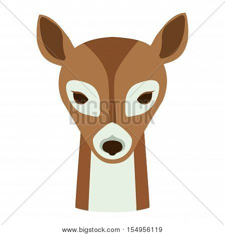 deer face animal cartoon icon over white background. colorful design. vector illustration